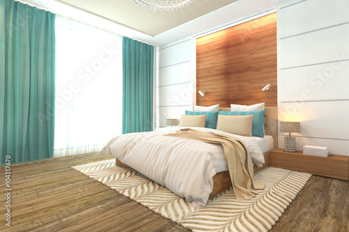 Fotografía  Wooden bedroom interior modern design