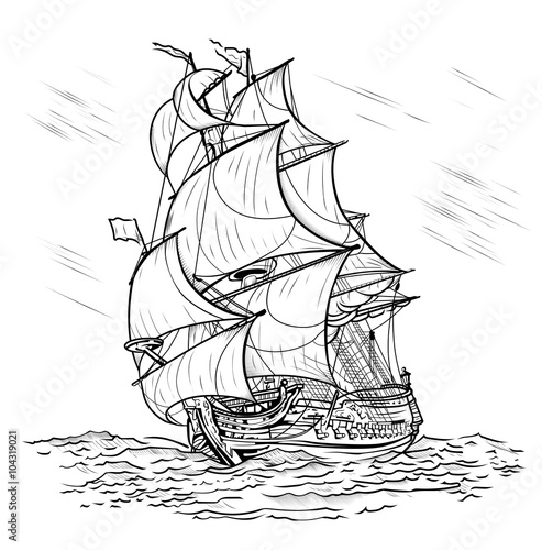 Wind-driven ship on a white background - 104319021