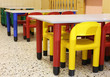 colorful chairs in the refectory of the nursery with small chair