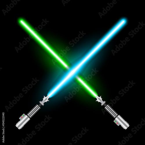 Fotografía  Crossed light swords of Jedi based on the movie Star War