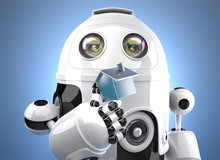 3D Robot Holding Miniature House Figure. Smart Home Concept. Contains Clipping Path