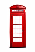 Iconic Red British Telephone Booth Isolated On A White Background