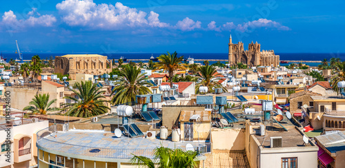 Spoed Foto op Canvas Cyprus Old town of Famagusta (Gazimagusa), panoramic view. Cyprus
