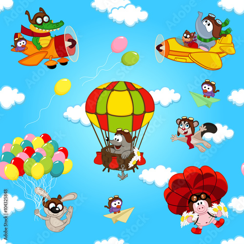 fototapeta na lodówkę seamless pattern with animals in air - vector illustration, eps