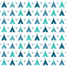 Seamless Tribal Background Pattern In Blue And Teal With Teepees And Triangles. For Scrap-booking, Greeting Cards, Gift Wrap, Wallpapers, Textiles Or Surface Textures.