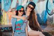 two happy street girls