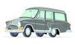 Caricatura GAZ Volga M22 Station Wagon gris vista frontal y lateral