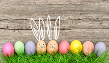 Easter Eggs Cute Bunnies. Funny Decoration