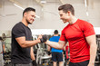 canvas print picture - Male friends meeting at the gym