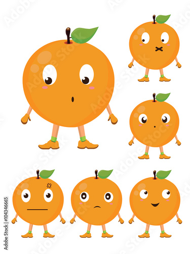 Foto op Canvas Schepselen Cute Orange Cartoon Character with Different Expressions