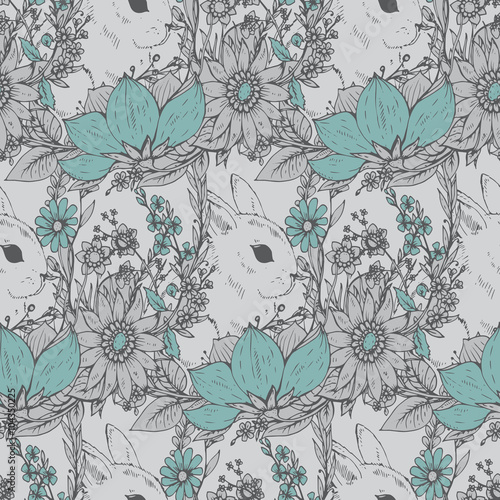 Cotton fabric ector floral seamless pattern with hand drawn flowers and cute r