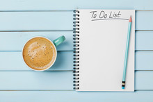 Coffee Cup And Notebook With T...
