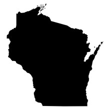 Wisconsin Black Map On White B...