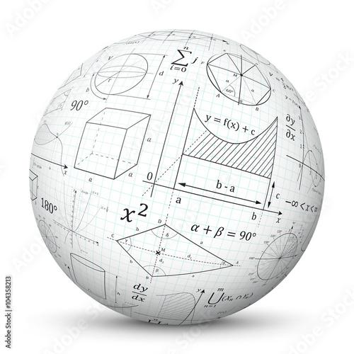 Foto Weiße 3D Kugel mit mathematischen Formeln - Vektor Ball mit Mathe Textur
