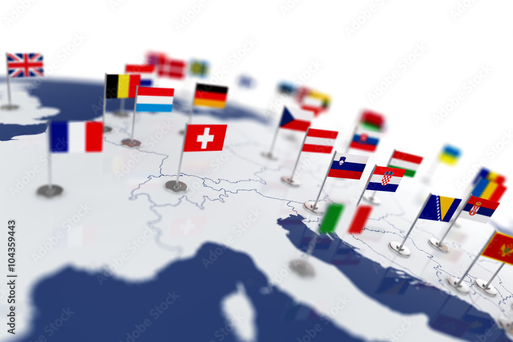 Fototapety, obrazy: Europe map with countries flags