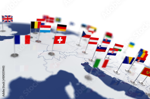 Fotografía  Europe map with countries flags