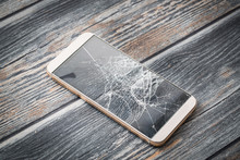 Modern Broken Mobile Phone.