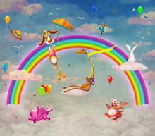 Illustration Of Animals On Background Of Rainbow In Sky