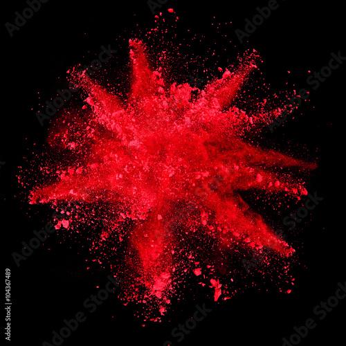 Obrazy czerwone  explosion-of-red-powder-on-black-background