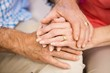 Senior couples hands together