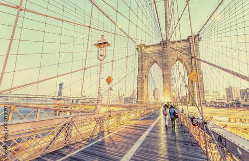 Foto op Canvas Brooklyn Bridge Vintage photo of Brooklyn Bridge in New York City