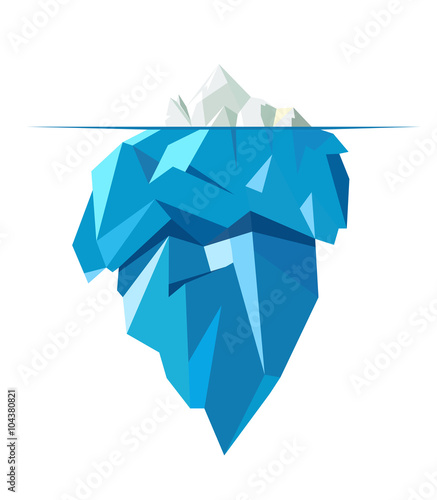 Photo Isolated full big iceberg, flat style illustration