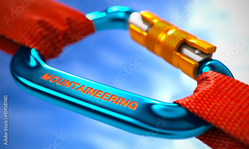 Foto op Plexiglas Alpinisme Red Ropes Connected by Blue Carabiner Hook with Text Mountaineering. Selective Focus. 3D Render.