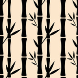 Seamless pattern with black silhouettes bamboo trees