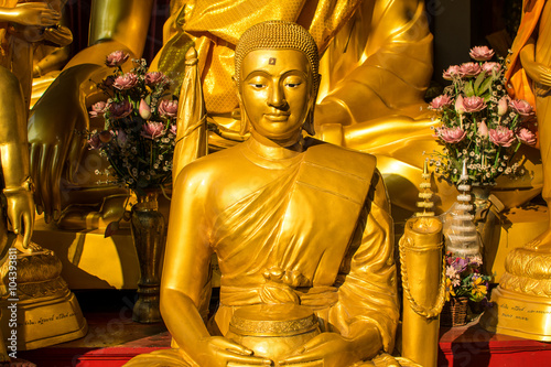 Buddha statue at famous temple,Wat Thep Leela in Thailand Wallpaper Mural