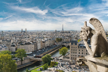 Fototapeta Gargoyle and wide city view from the roof of Notre Dame de Paris