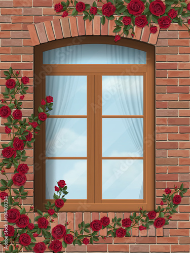 climbing rose winds around arched window in brick wall buy this
