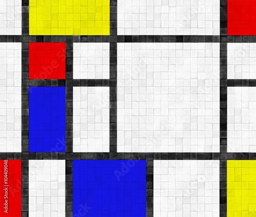 Fotografie, Tablou  Fliesenwand im Mondrian Stil