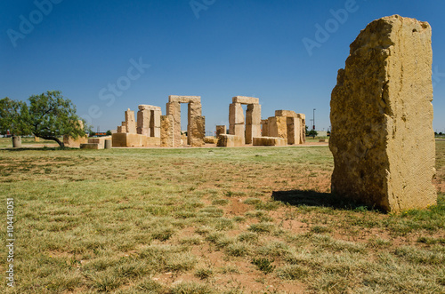 Stonehenge replica located in the University of Texas in Odessa that is 14% shorter than the original one in England.