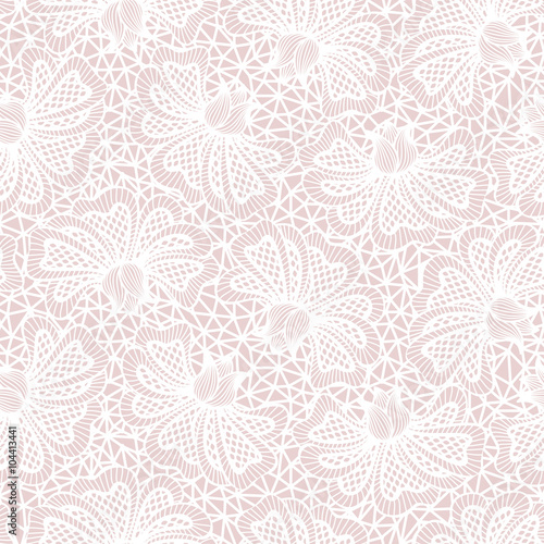 Valokuva  White seamless flower lace pattern on pink background