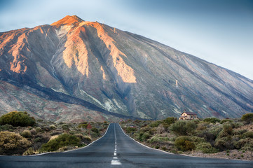 Lonely road to El Teide volcano