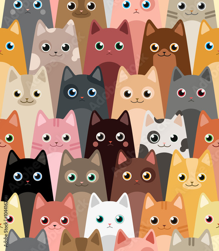 Tela  Cats. Cartoon vector seamless wallpaper.