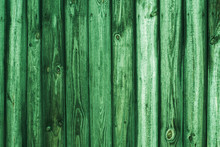 Vintage Wood Background. Grunge Wooden Weathered Oak Or Pine Textured Planks. Rustic Green Rustic Fence.