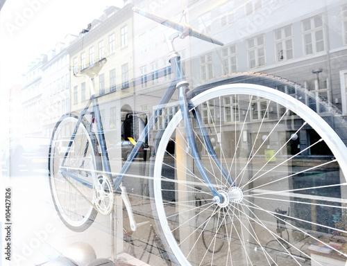 Photo Bicycle on display in shop window