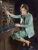 Portrait of telephone operator   - 104431606