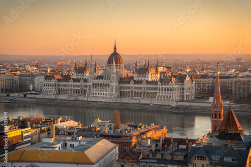 Fotobehang Midden Oosten Illuminated Hungarian Parliament Building in Budapest, Hungary at Sunrise