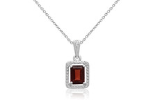 Stunning Emerald-Cut Garnet Pendant With Antique Setting In Silver