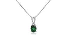 Beautiful Oval Emerald Ribbon Pendant In Silver