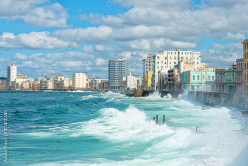 Fotobehang Havana The Havana skyline with big waves on the sea