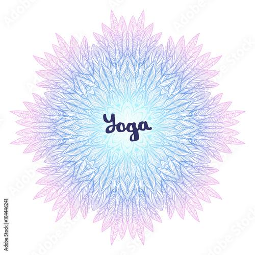 "Photo  ""yoga"" inscription with pink blue mandala, a circular pattern on white backgroun"