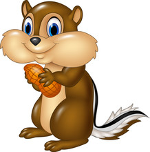Cartoon Chipmunk Holding Peanu...