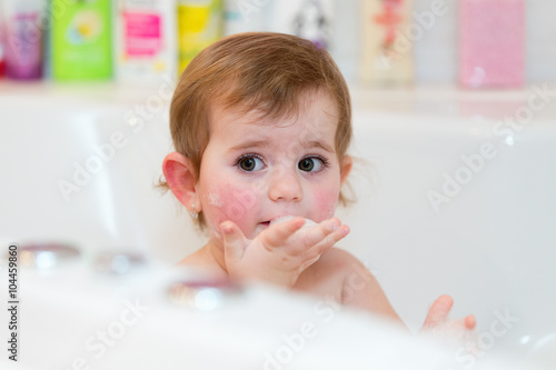 little girl taking spa bath Canvas Print
