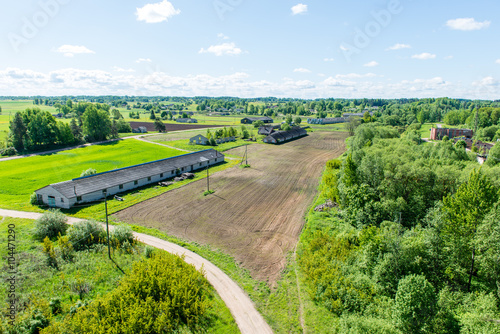 In de dag Lime groen aerial view of Latvian countryside
