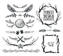 Set Of Hand Drawn Tribal Frame...