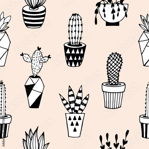 Cotton fabric Seamless pattern with succulents in terrarium.