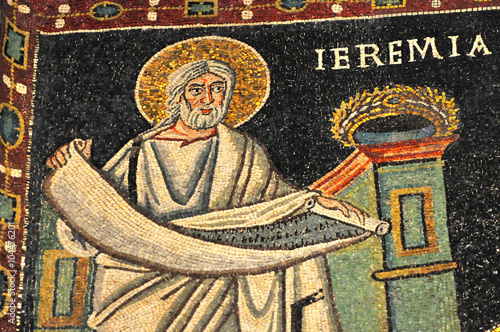Foto  ancient byzantine mosaic of the Prophet Jeremiah